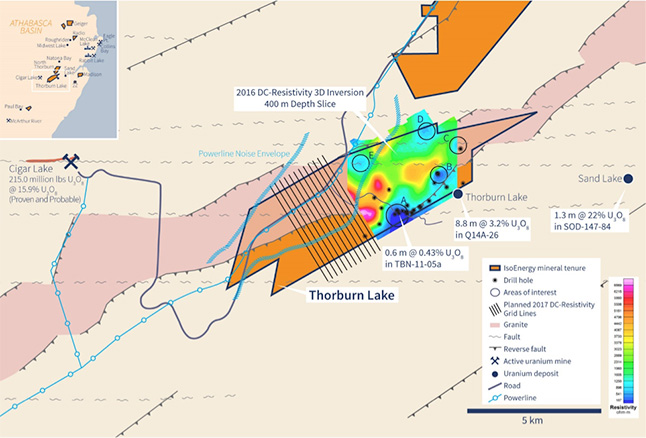 Figure 1 - Thorburn Lake 2017 Geophysical Survey Grid Location.