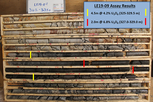 Figure 4 - Core Photo of Mineralization in Drill Hole LE19-09