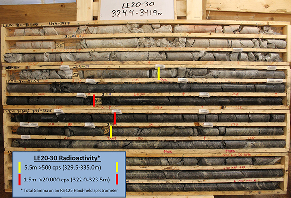 Drill Hole LE20-30 Mineralization