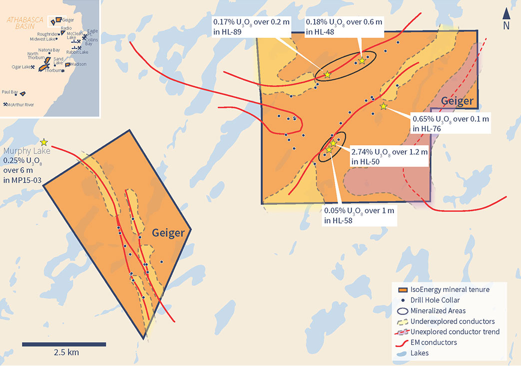 Geiger Drill Holes, Conductors and Exploration Targets
